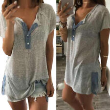 Women Summer V-neck Loose Casual Plus Button Short Sleeve Blouse T Shirt Tank AU 4xl