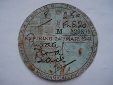 24TH MARCH 1941 TAX DISC FOR AN 8HP BLACK FORD FLG20