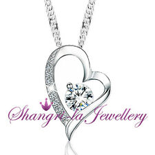 925 STERLING SILVER Bridal HEART Pendant NECKLACE with SWAROVSKI DIAMOND S1023