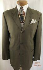 """DONNA KARAN Men's 2 Pc Suit 40R 3 Button  Wool W/I 33""""/31"""" 2 Pleat Pants Brown"""