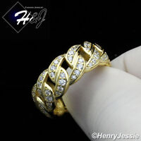 MEN WOMEN 925 STERLING SILVER FULL LAB DIAMOND GOLD CUBAN CURB LINK RING*GR109