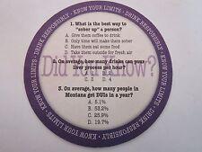 Beer Coaster ~ MONTANA Alcohol DUI Awareness ~ Drink Responsibly Education Quiz