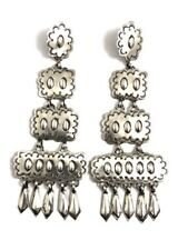 Native American Sterling Silver Navajo Handmade Silver Stamp Dangle Earring