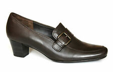 Gabor UK 6 G Decker Fit Extra Wide Mocha Brown Leather Mid Heel New Court Shoes