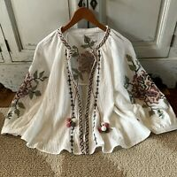L Boho Embroidered Floral Peasant Blouse Jacket Vtg 70s Ins Top Womens LARGE NWT