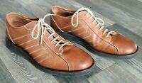 Johnston & Murphy Mens 11.5 M Brown Oxford Dress Shoes Rubber Sole 20-2326 Italy