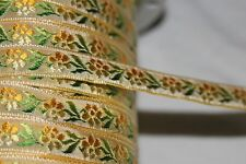 "$1 yard Gold Yellow Green ombre jacquard woven sewing craft ribbon Trim 1/2"" w62"