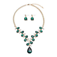 Women Bridal Jewelry Crystal Water Drop Necklace Earrings Wedding Party Set Gift