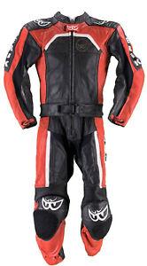 Berik Lederkombi Gr. 50 Zweiteiler Motorradkombi Leather Suit Rot Schwarz