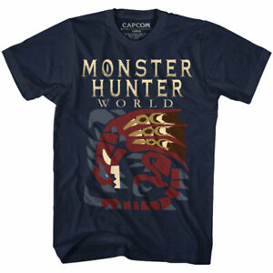 Monster Hunter World Big Red Dragon Men's T Shirt Creature RPG Combat Beast Game