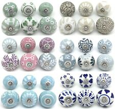 SETS OF 6 CERAMIC KNOBS Drawer Pulls Cupboard Handles Door Vintage Shabby Chic