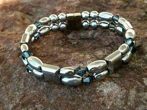Pick 1 of 8  Magnetic Hematite Men's Women's Bracelet Anklet w SWAROVSKI Crystal