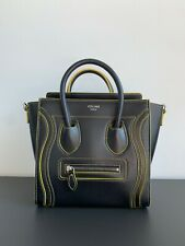 Celine Nano Luggage Bag, Black with Yellow Detailing; Authentic Celine