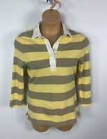 WOMENS GAP SIZE MEDIUM YELLOW&BROWN 3/4 SLEEVE STRETCH CASUAL POLO SHIRT TOP