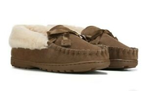 Bearpaw Indio Original Cozy Sherpa Moccasin Slippers Brown Women's Size 7