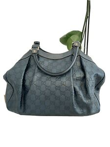 100% AUTH GUCCI GUCCISSIMA SUKEY MEDIUM METALLIC BLUE Leather Satchel Bag Purse