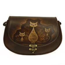 Handmade Genuine Leather Vintage Handbag Shoulder Bag Luxury Brown Cat