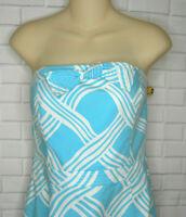 David Meister Blue White Print Cotton Sheath Dress Size 10 Lined Strapless USA