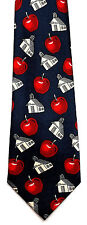 Back To School Mens Neck Tie Teacher Blue Necktie Red Apple Education Gift New