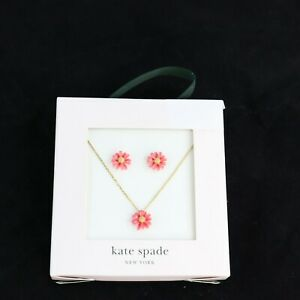 Kate Spade New York, Flower Stud Earrings & Pendant Necklace Set, Coral & Gold
