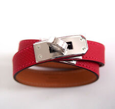 NIB Hermes NEW Kelly Double Tour KDT Rouge Casaque Red Silver PHW Bracelet S