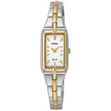Seiko Solar Ladies White Dial Two Tone Bracelet Dress Watch SUP272
