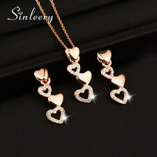Romantic Small Crystal Heart Necklace Earrings Jewelry Set 18K Rose Gold Plated