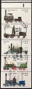 1987 22c Steam Locomotive Booklet Pane of 5, Scott #2362-66, Cancelled, VF