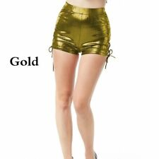 Women Sexy Hot Pants Shorts Wet Look Shiny Bandage High Waist Dance Club Ds Punk