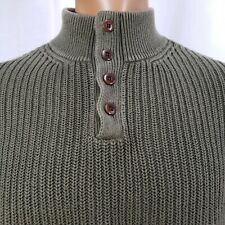 LL Bean XL Sweater Men's Henley Pullover Heavy Ribbed Cotton Green L/S