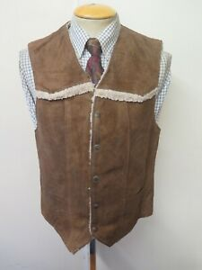 "Vintage Schott Bros Rancher Suede Sheepskin Gilet Waistcoat S 34-36"" Euro 44-46"