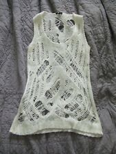 TOPSHOP White Cream Distressed Destroyed Sleeveless Knit Tank Top Vest 4 8 S