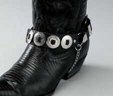 Black Leather Boot Chains Straps Silver Conchos Buckles Biker Cowboy Boots Pair