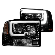 For Ford F-250 2005-2007 Recon Black/Smoke LED DRL Bar Halo Projector Headlights