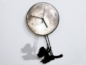 Girl Swinging on the Full Moon - Pendulum Wall Clock