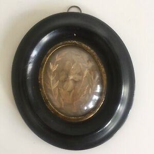 Petit Cadre Reliquaire Cheveux Verre bombé Napoléon III Cabinet Curiosité XIXe