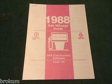 MINT 1988 GAS MILEAGE GUIDE EPA FUEL ECONOMY ESTIMATES NEW ORIGINAL (25-A)
