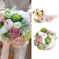 Artificial Hand Ribbon Bouquet Bridal Flowers Succulent Bouquets Wedding Decor