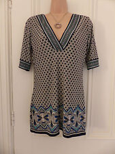 Studio M size S (UK 8) tunic top, black & off white with blue, turquoise pattern
