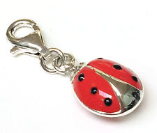 Funky 925 SOLID Sterling Silver Red and Black Enamel Ladybird Bug Clip on Charm