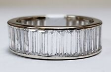 14k White Gold Cubic Zirconia Baguette Eternity Wedding Anniversary Band Ring