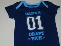 Infant Boy 0 3 6 9 Month Football Sport Daddys Draft Pick One Piece