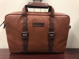 NEW Johnston & Murphy Zip Top Briefcase Shoulder Laptop Brown Leather $395!