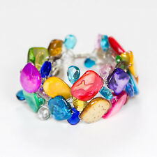 Shell Bracelet with Crystals, Multicolour, Handmade