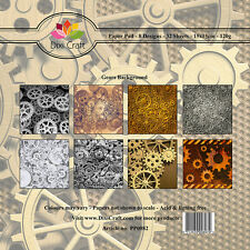 "DIXI GEARS BACKGROUND PAPAERS 8 DESIGNS 32 SHEETS 6"" X 6""  FOR CARDS & CRAFTS"