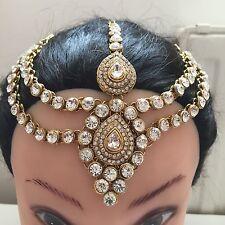 Diamante Cristal Funda chain/piece Matha Patti Plata O Dorado bridal/wedding