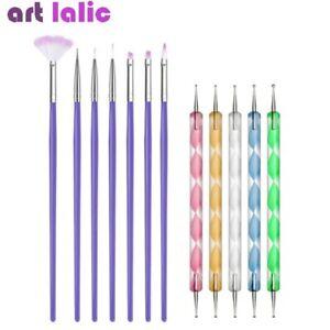 12Pcs Nail Art Dotting Drawing Pen + Purple Brushes UV Nail Gel Polish Design