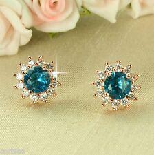 Chapado en Oro Rosa E3 Azul Cristal Flor Aretes-giftboxed