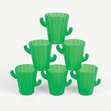 MEXICAN FIESTA CACTUS TEQUILA SHOT GLASSES GREEN PLASTIC NEW 12 ONE DOZEN