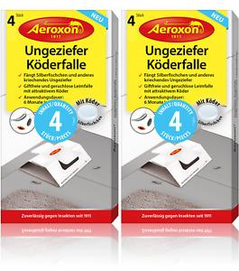 Aeroxon Ungeziefer Köderfalle 8x Insektenschutz gegen Silberfischchen & Schaben